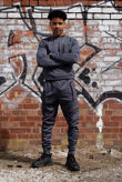 Charcoal Hybrid Pocket Muscle Fit Pullover Tracksuit