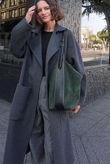 Charcoal Longline Pocket Detail Wool Look Coat