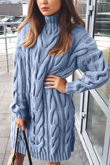 Chunky Cable Knit High Neck Jumper Dress