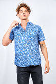 Denim Feather Print Short Sleeve Shirt