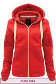 Double Plus Size Red Basic Hooded Jacket