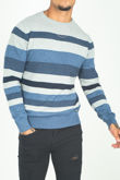 Denim Crew Neck Striped Jumper