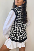 Dogtooth Knitted Vest Top