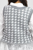 Dogtooth Knitted Vest With Undershirt