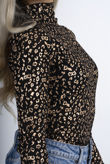 Metallic Gold Leopard Print Mesh Party Top