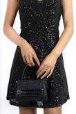 Black Sequin Strappy Mini Dress
