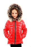 Girls Red With Brown Fur Shiny Hooded Jacket