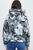 Grey Camo Quilted Padded Puffer Bubble Fur Collar Jacket