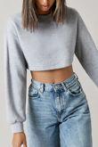 Grey Cropped Oversized Sweatshirt