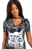 Grey Skull Printed Bodycon Dress