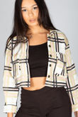 Green Cropped Checked Shacket