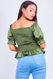 Satin Puff Sleeve Peplum Blouse