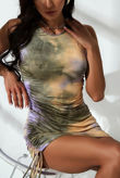 Green Tie Dye Ruched Bodycon Dress