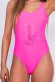 Hot Pink Corset Waist Scoop Swimsuit