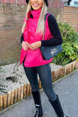 Hot Pink Pocket Front Puffer Gilet