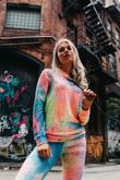 Textured Tie Dye Hooded Top And Leggings Active Set