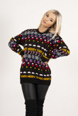 Black Knitted Christmas Decoration Jumper