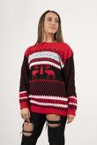 Red Novelty Aztec Reindeer Christmas Jumper
