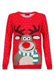 Red Kids Pom Rudolph Christmas Jumper