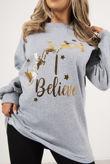 Grey Metallic Believe Logo Oversized Christmas Jumper