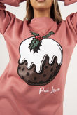 Dusty Pud Lover Printed Oversized Christmas Jumper