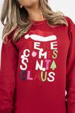 Red Novelty Here Comes Santa Claus Christmas Sweatshirt