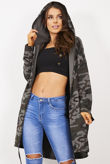 Khaki Camo Sequin Angel Wing Hooded Cardigan