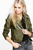 Khaki Crop Leather Look Biker Jacket