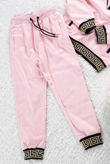 Kids Pink Greek Key Panel Trim Pullover Tracksuit