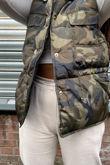 Khaki Camo Pocket Front Puffer Gilet
