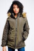 Khaki Faux Fur Hood Zipped Jacket