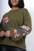 Khaki Oversized Embroidered Puff Sleeve Sweatshirt