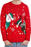 Kids Red Santa And Reindeer Knitted Christmas Jumper