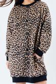 Leopard Print Oversized Pocket Sweat Dress