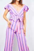 Lilac Candy Stripe Plunge Knot Jumpsuit