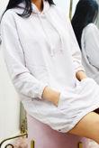 Lilac Slouchy Pocket Hooded Sweat Dress