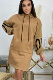 LOVE Print Hoodie Dress With Kangaroo Pocket