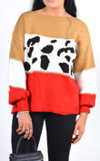 Leopard Stripe Colourblock Knitted Jumper