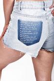Light Blue Printed Back Distressed Shorts
