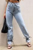 Light Wash Distressed Straight Leg Jeans