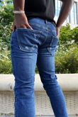 Mid Blue Wash Skinny Knee Patched Jeans