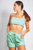 Mint Basic Crop Top and Short Set With Scrunchie
