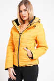 Mustard Quilted Padded Puffer Bubble Fur Collar Jacket