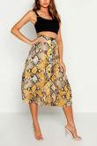 Mustard Snake Pleat Button Down Midi Skirt