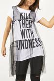 Mesh Overlay Slogan T-shirt