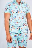 Mint Floral Print Shirt And Short Set