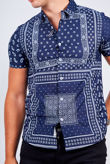 Navy Bandana Print Short Sleeve Shirt
