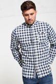 Navy Check Mandarin Collar Shirt