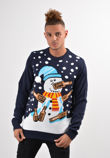 Navy Drunk Snowman Christmas Jumper