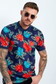Navy Floral Print Polo Shirt